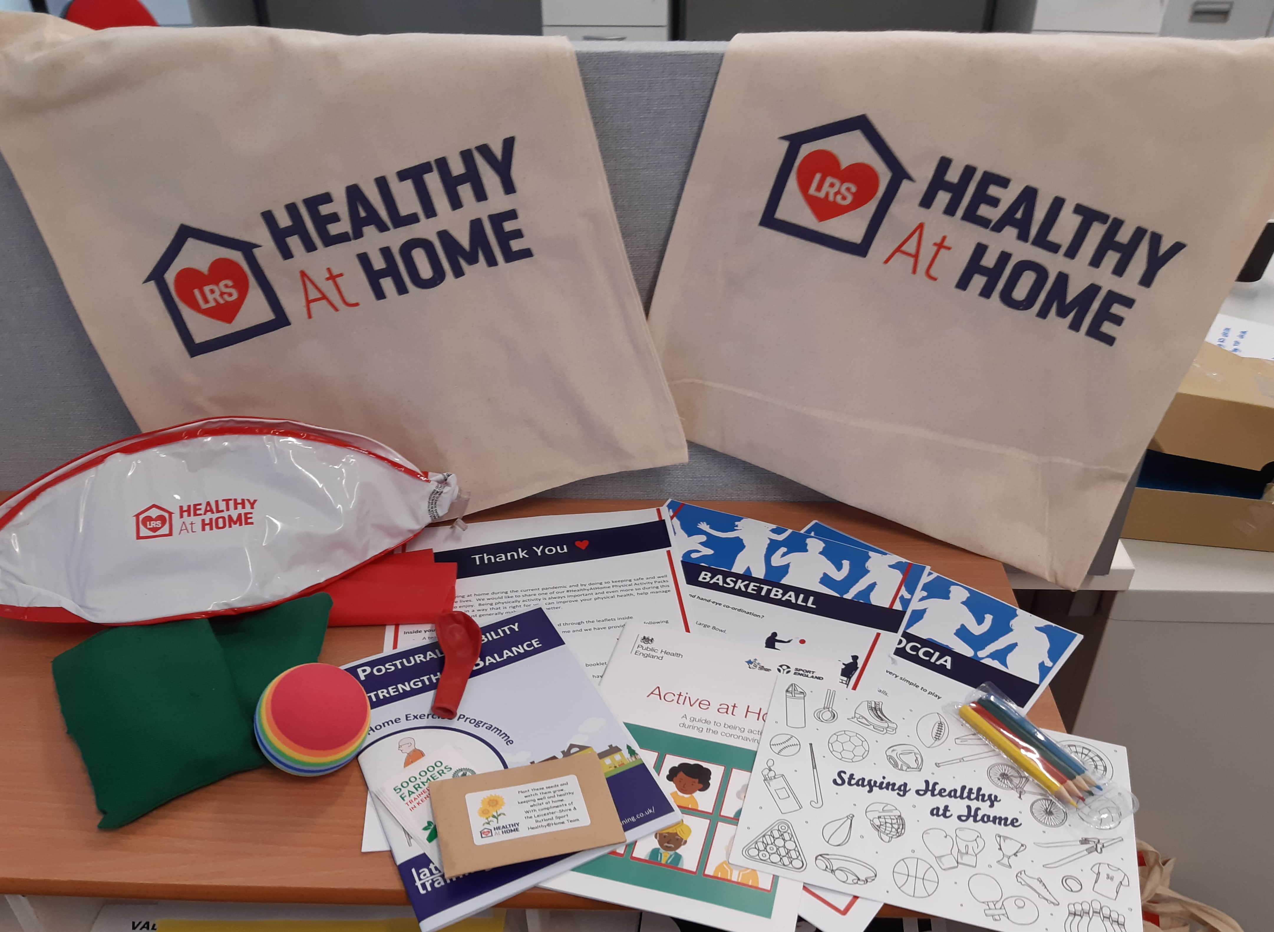 Contents of healthy at home packs including balls, bean bags, activity cards