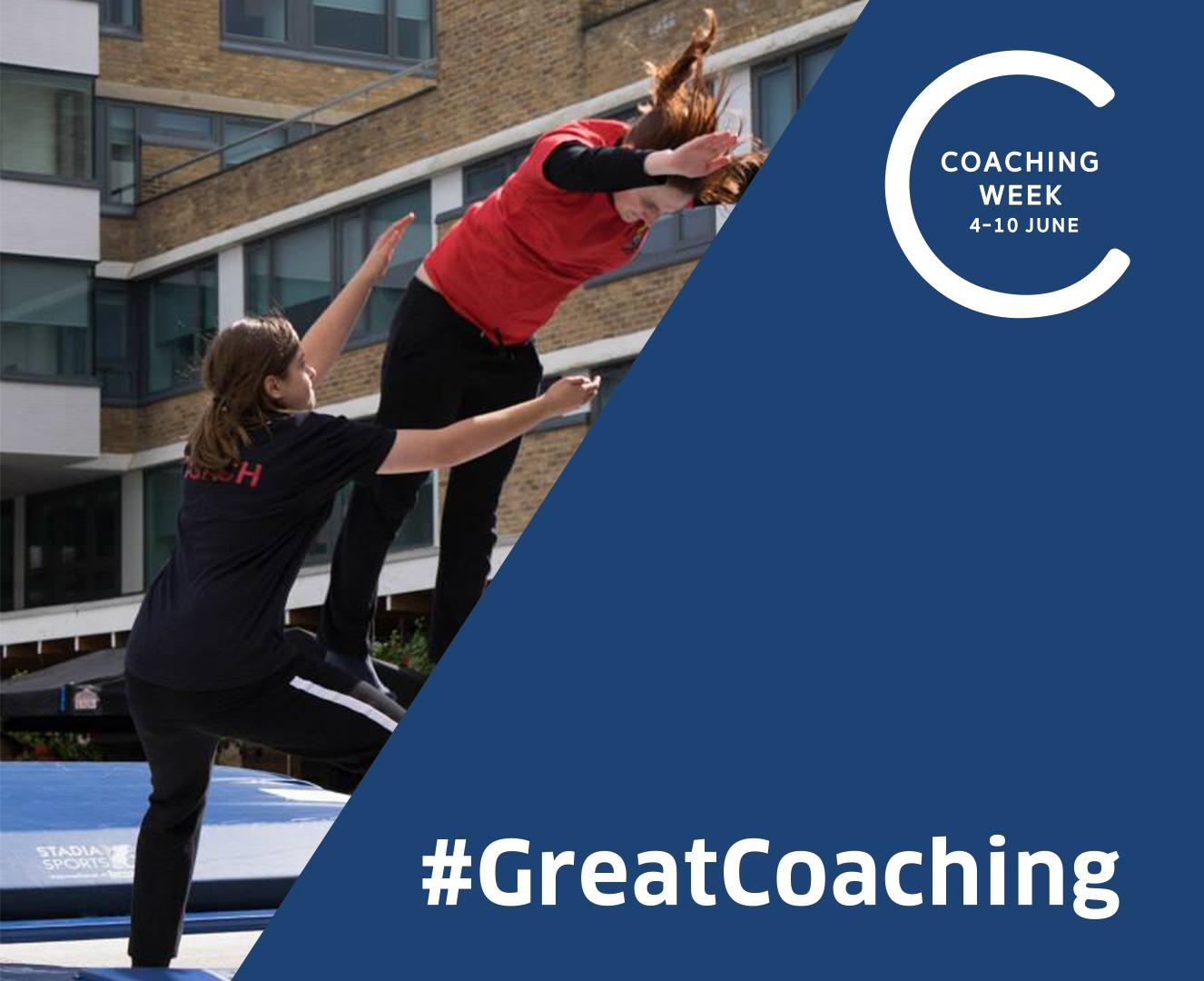 Emma coaching a gymnast