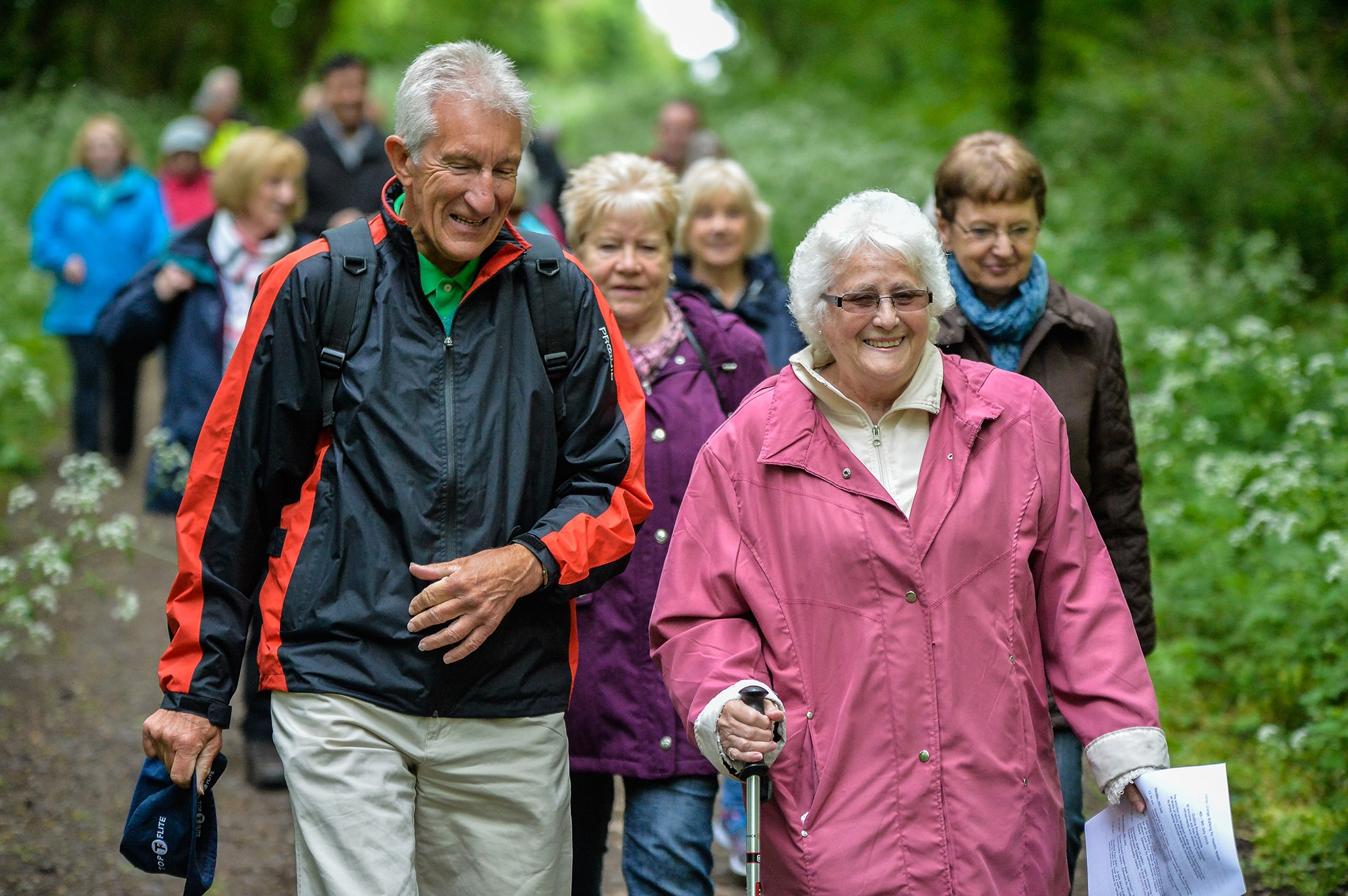 group of older people on a health walk