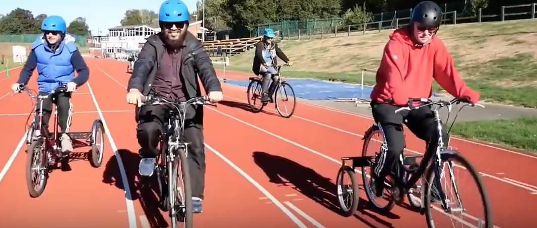 group cycling on adapted bikes