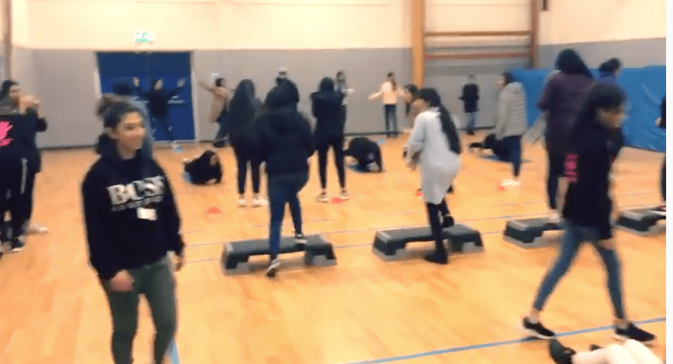 girls participating in circuits session
