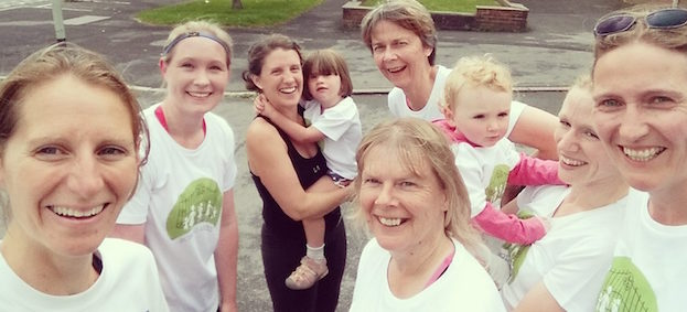 mums at the school gates ready to run