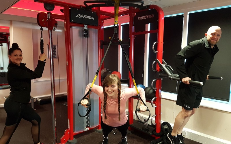 Lucy exercising in the gym