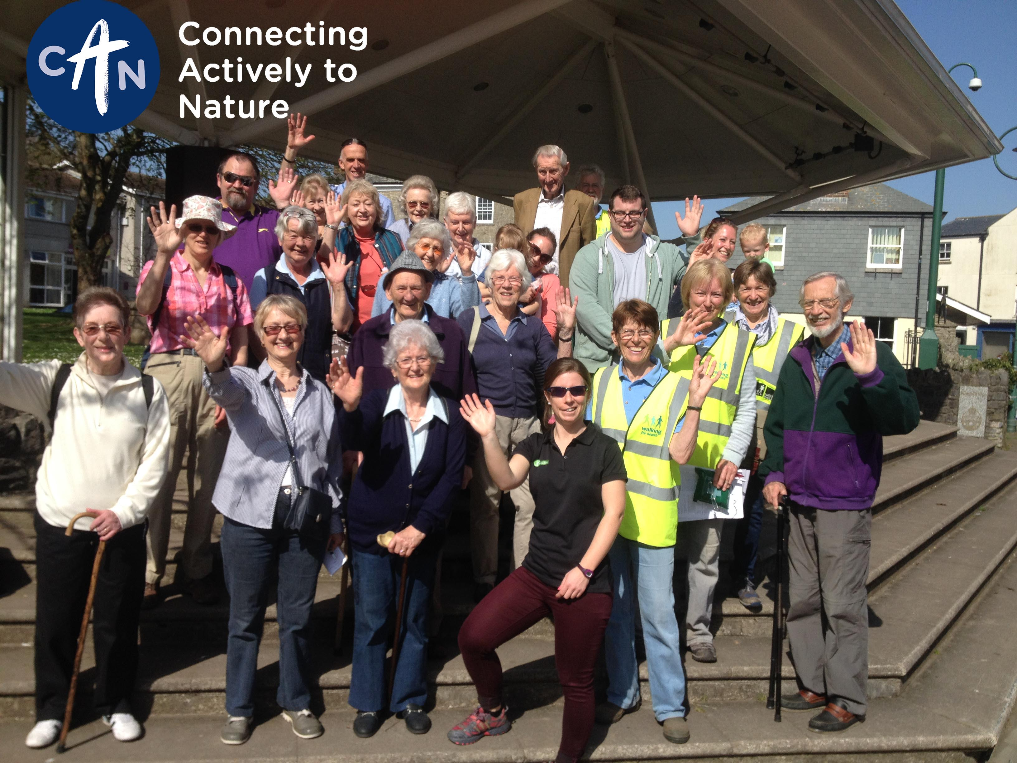 group of older people ready to go on a walk