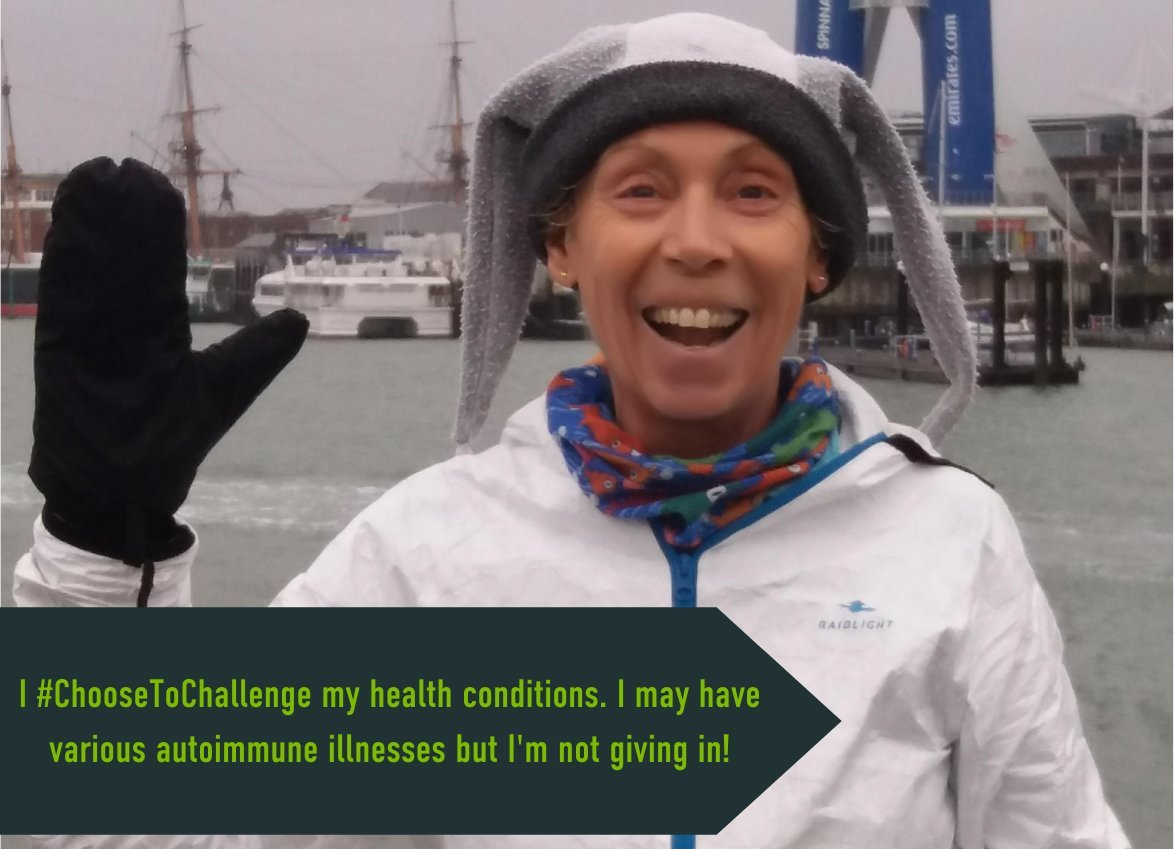 "female raising her hand with caption ""I Choose to Challenge my health condition. I may have various autoimmune illnesses but i am not giving in"""