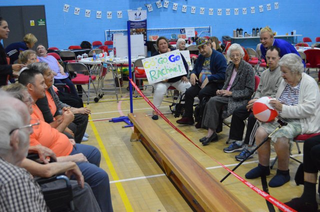 older people participating in seated volleyball