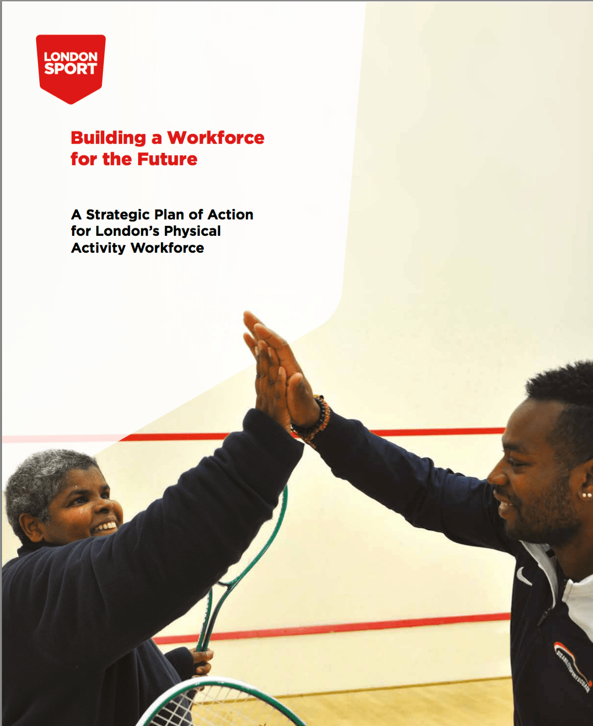front cover of strategy showing two people high fiving
