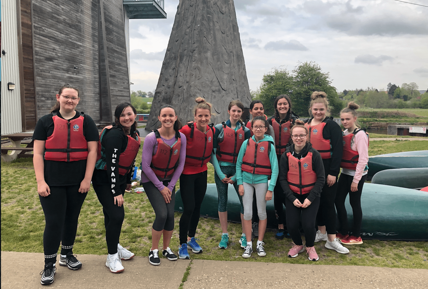 teenage girls by river ready to get active
