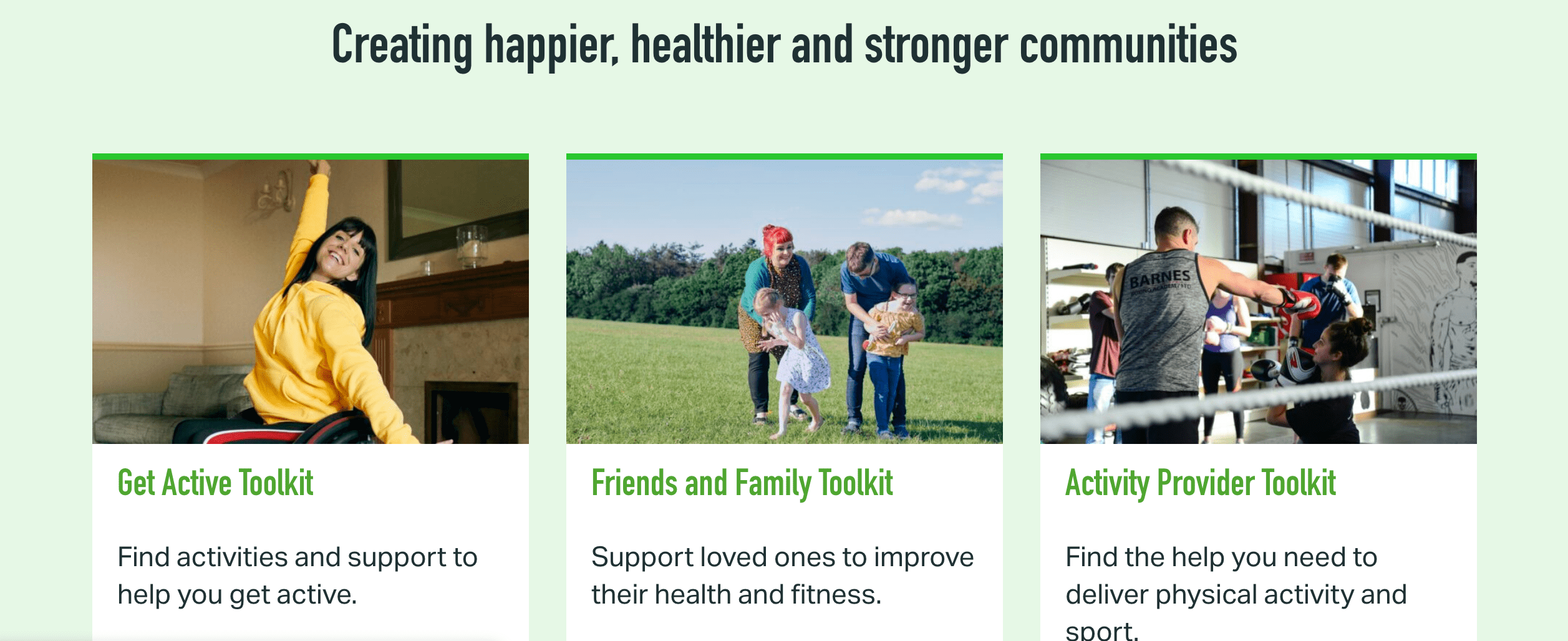 families enjoying being active