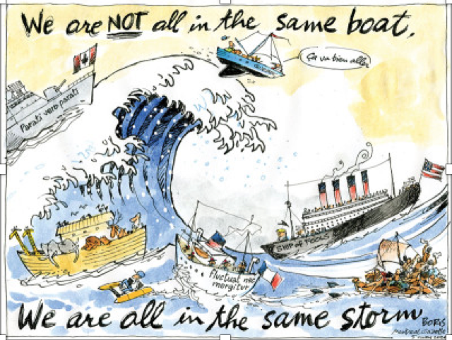 "A boat riding a big wave with quote ""We're not all in the same boat, we are all in the same storm"""