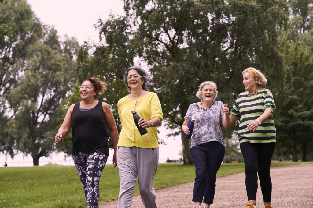 four females enjoying a walking session