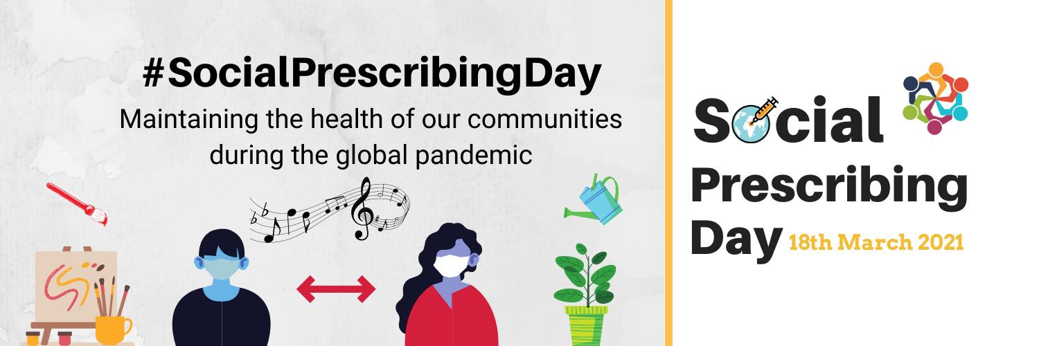International Social Prescribing Day logo, 2 people with masks with arts, musics and gardening symbols