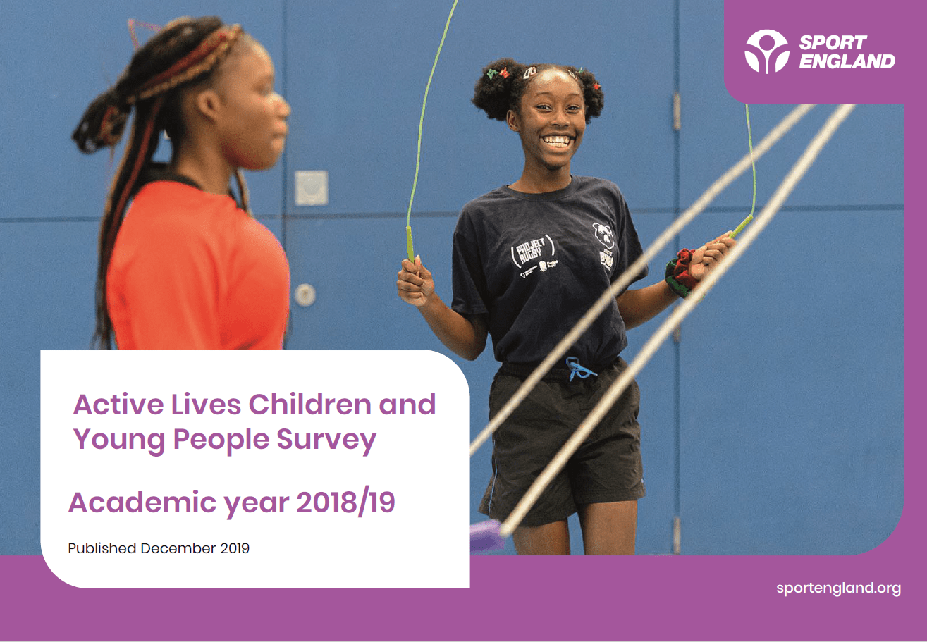 front cover of Active Lives report -2 girls playing badminton