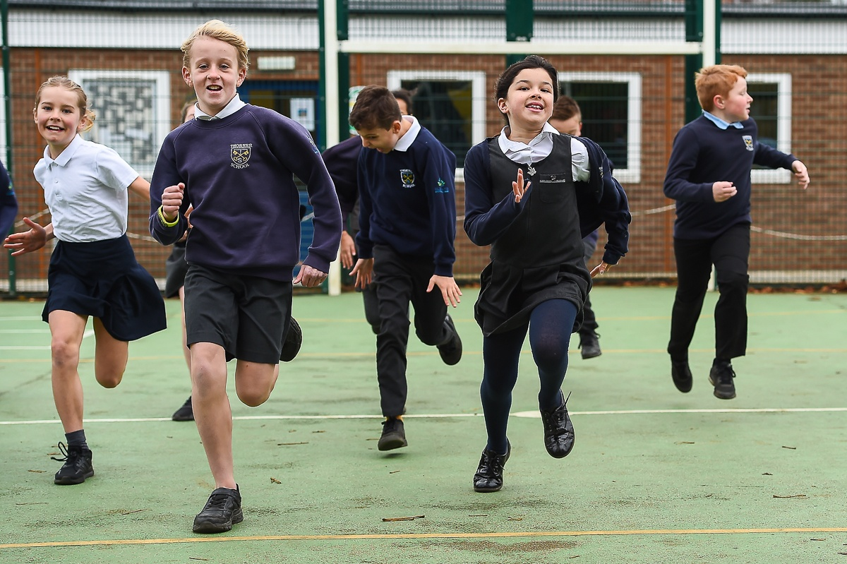 children running in playground