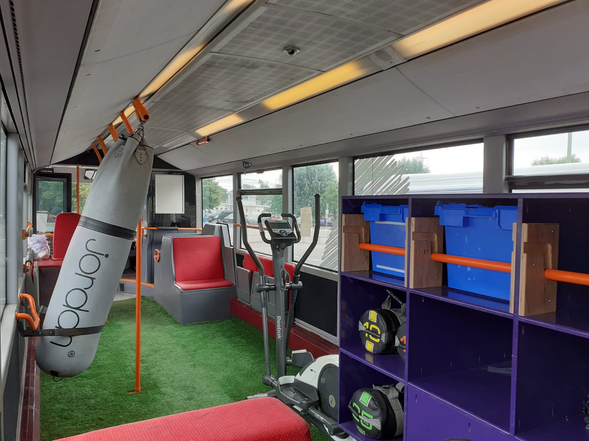 A bus converted with gym equipment