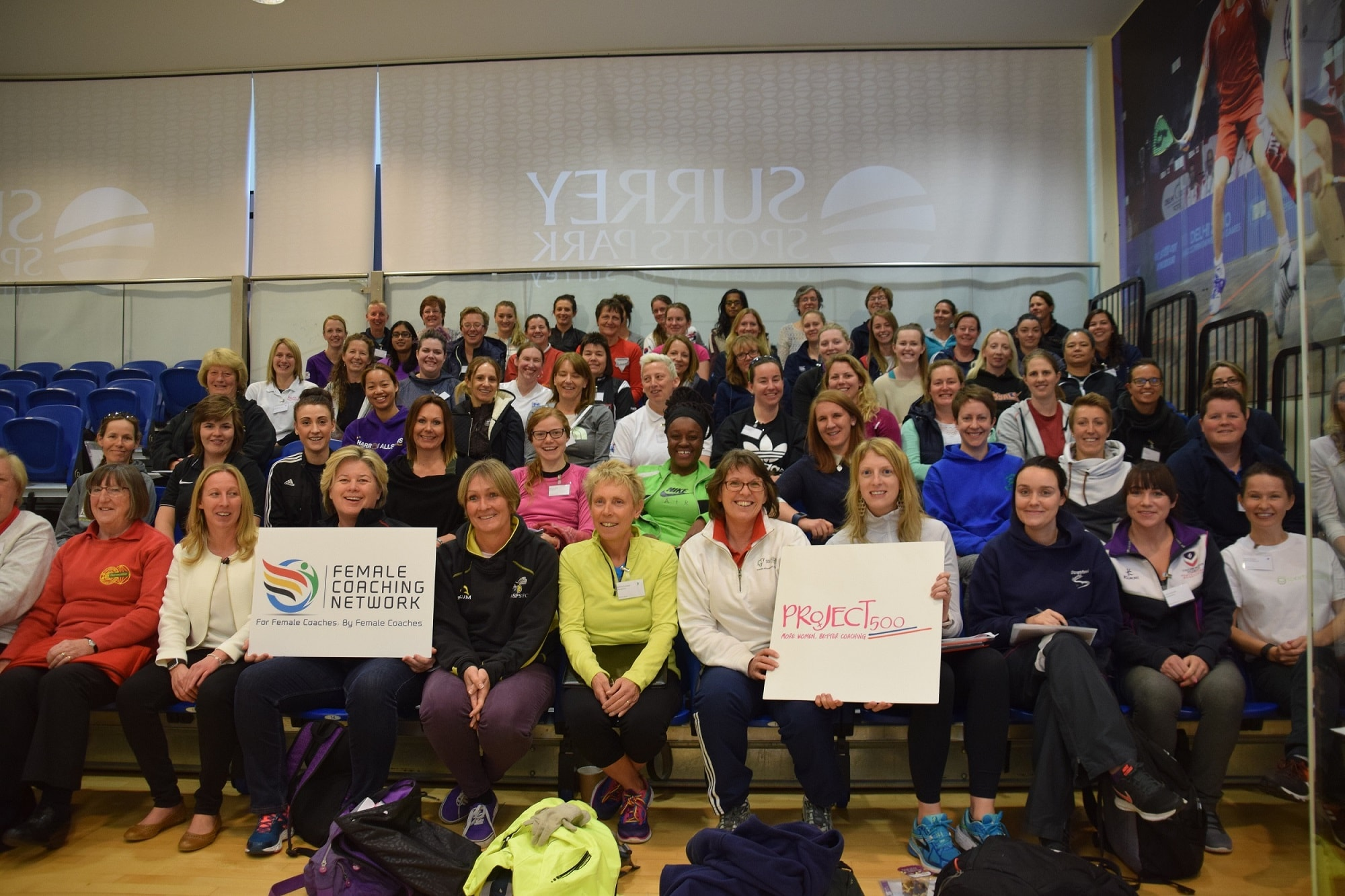 Group photograph of female coaches at the conference