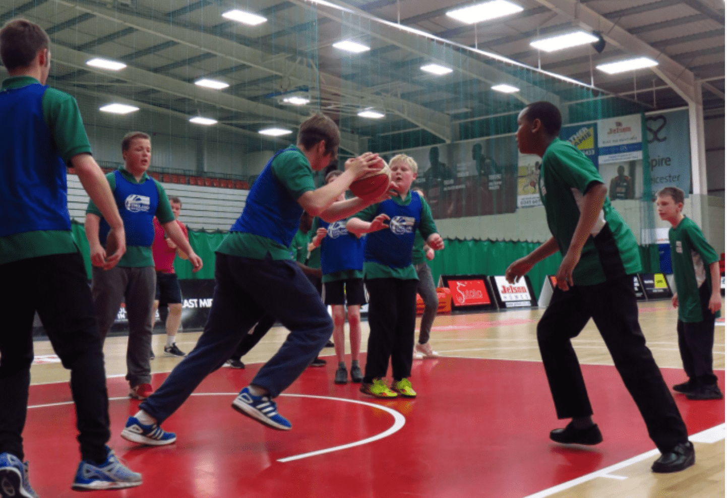 basketball session taking place