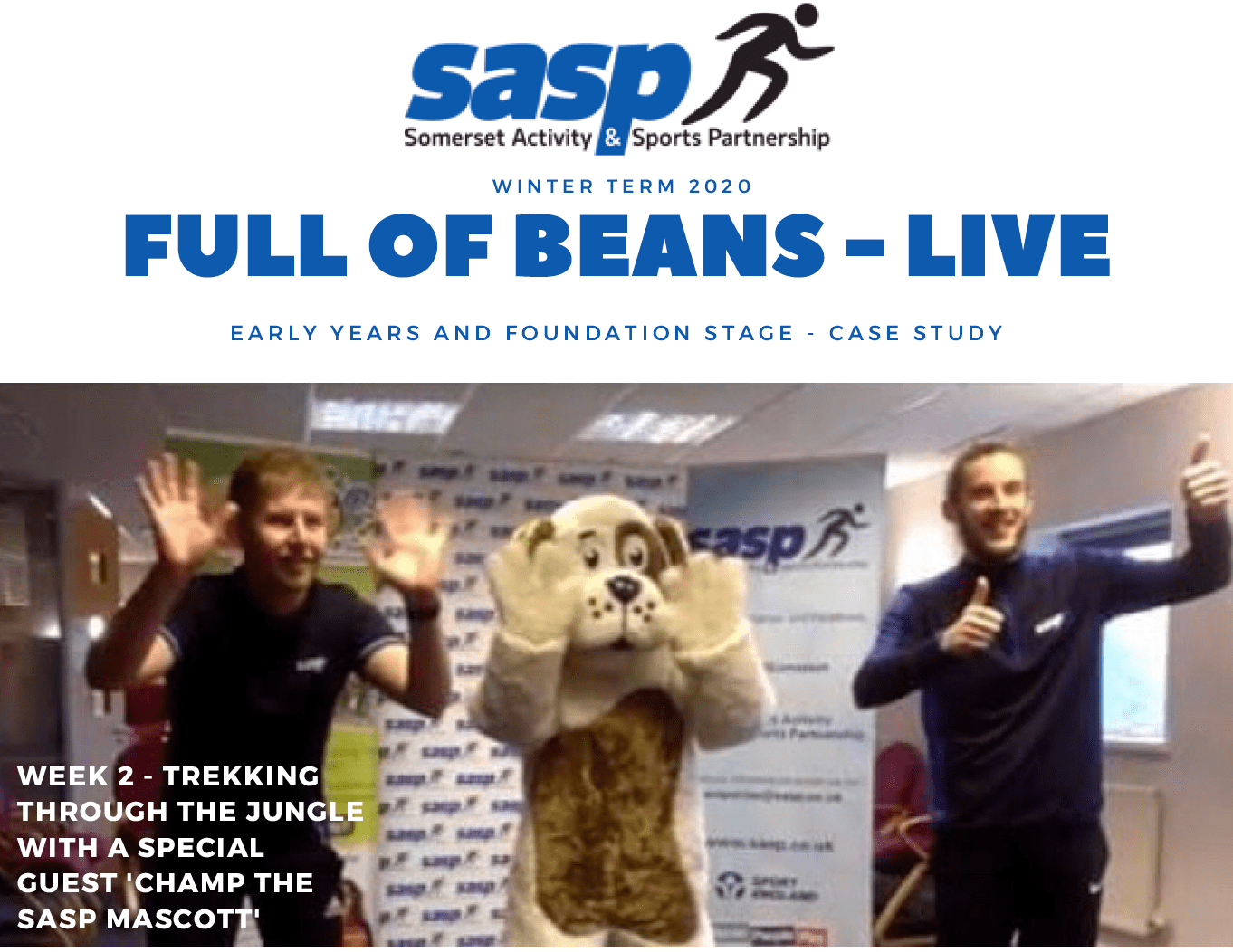 Champ the SASP mascot dog and two male instructions doing activities as part of live sessions