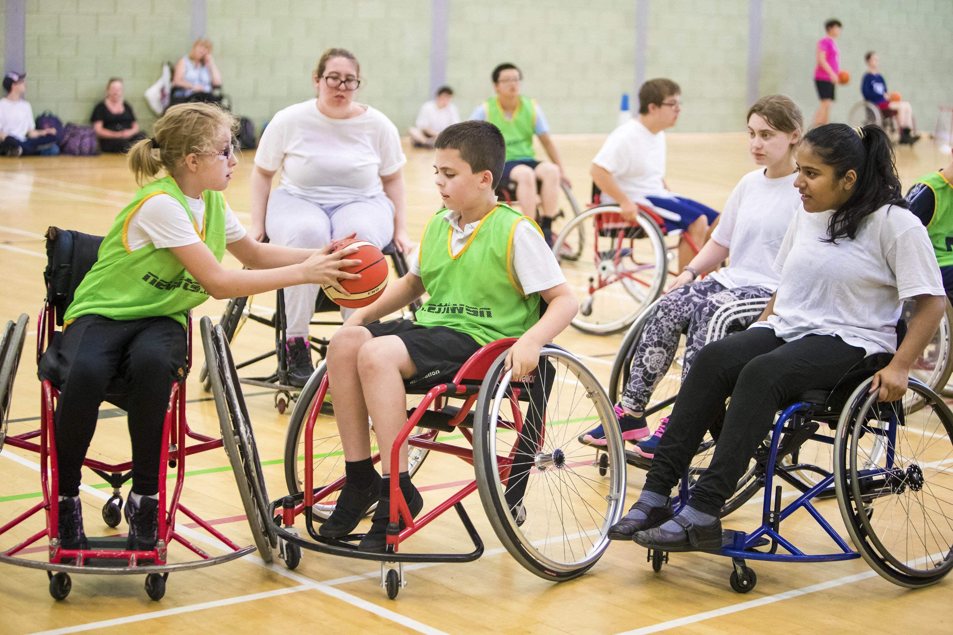 Pupils take part in wheelchair basketball