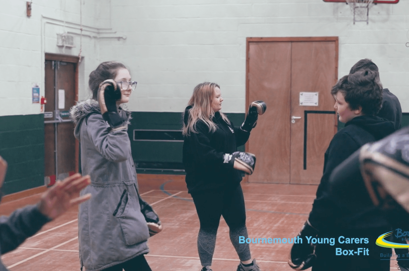 young carers participating in boxing session