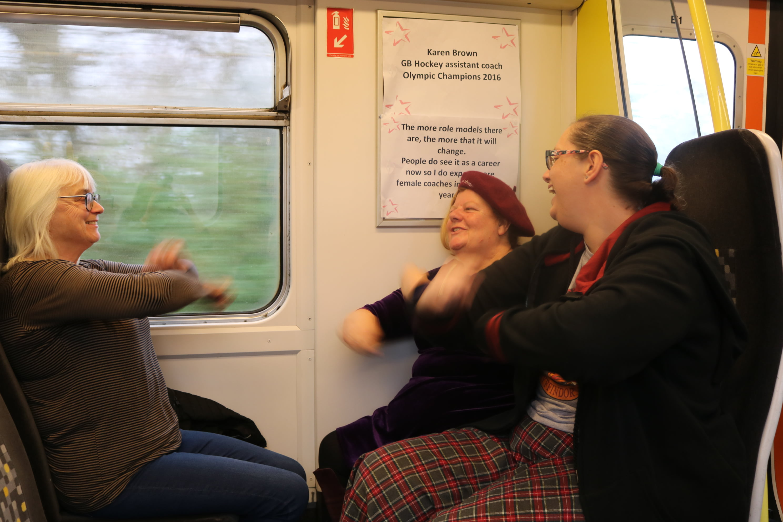 4 passengers enjoying the train workout