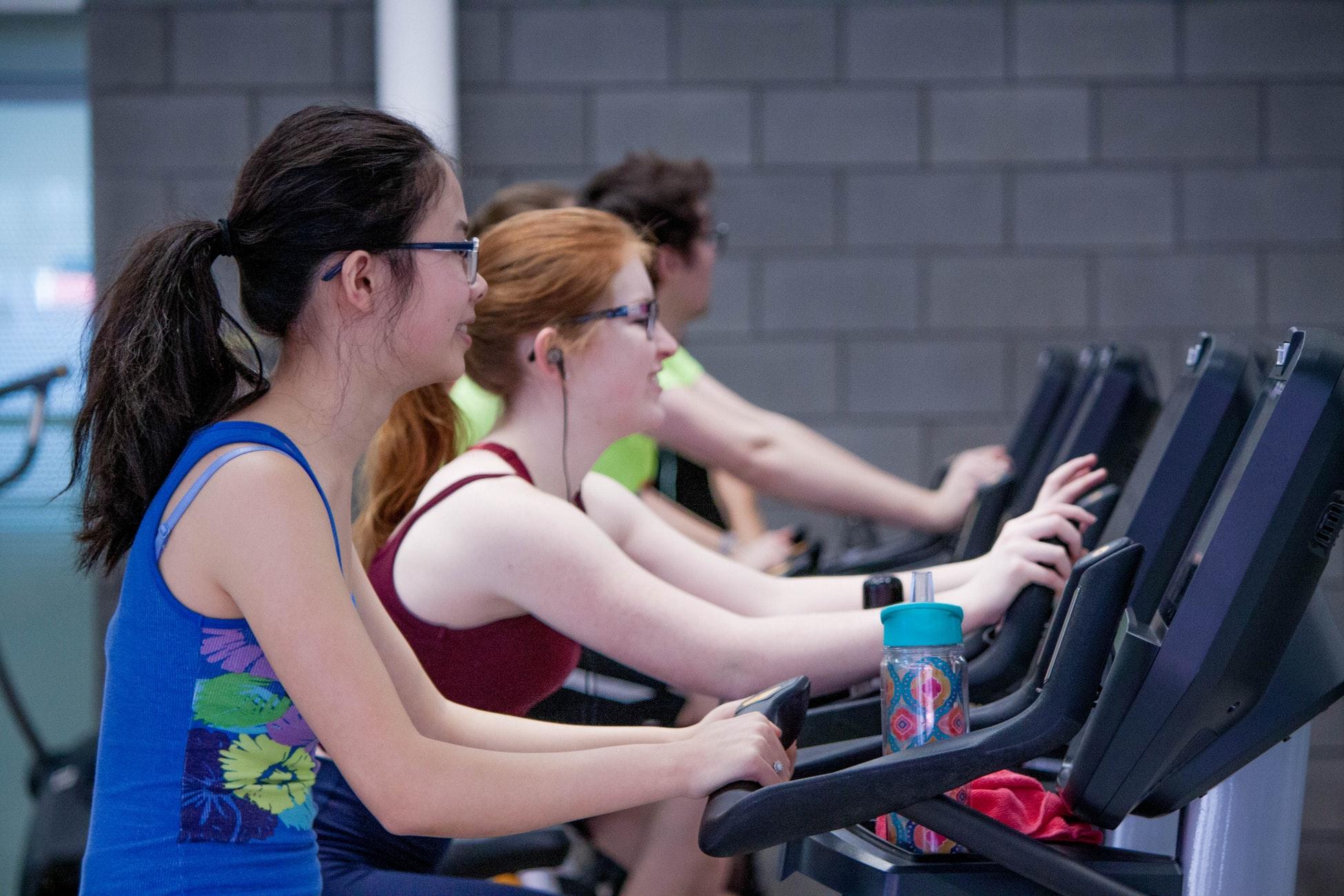 women walking on treadmill