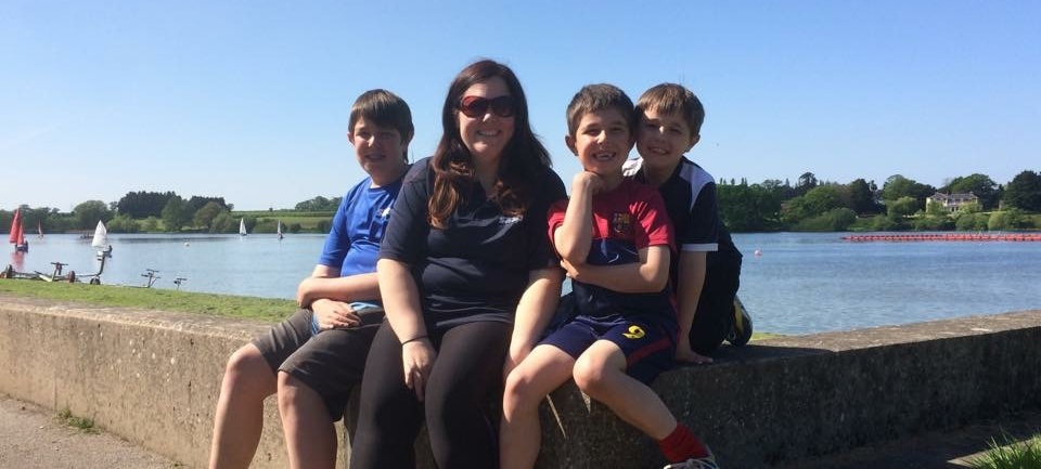 Lorraine with family at lake