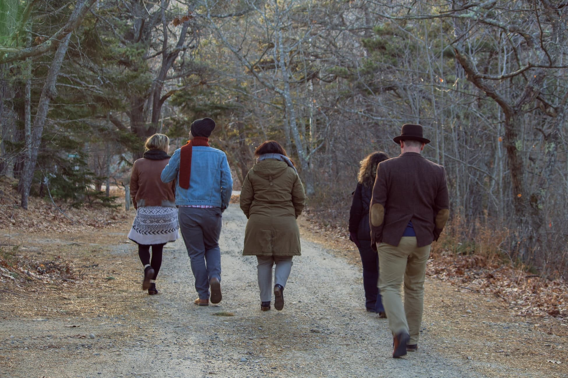 group walking through woods
