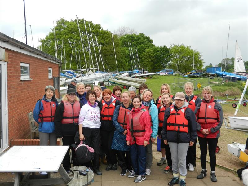 group shot of 22 females before they go on the water