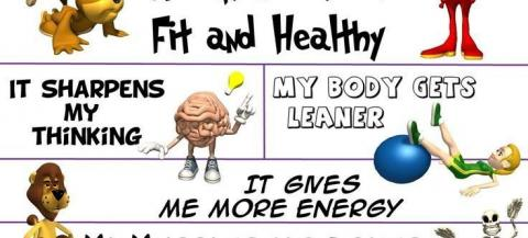 Infographic of benefits of being active