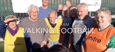group picture of walking football participants