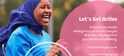 female in blue hijab laughing whilst being active