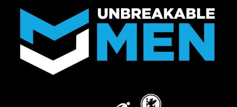 Unbreakable men logo- white and blue writing on a black background