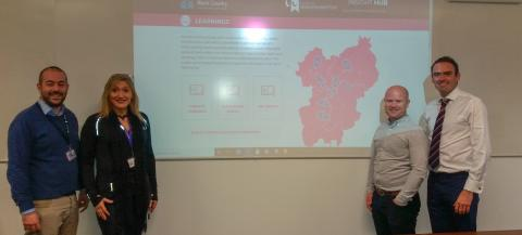 Representatives of Active Black Country and University of Wolverhampton standing by powerpoint presentation of hub