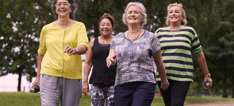 4 women enjoying a walk in a park