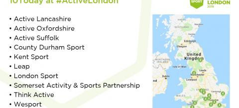 map showing 10 Active Partnerships involved in #Active10