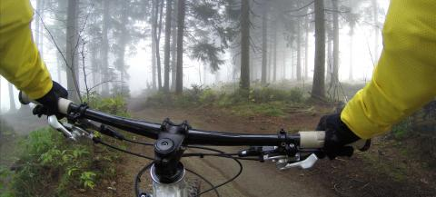 bike riding in woods