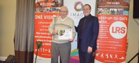 Frank Booth, oldest athlete award winner pictured with an Imago Venues representative