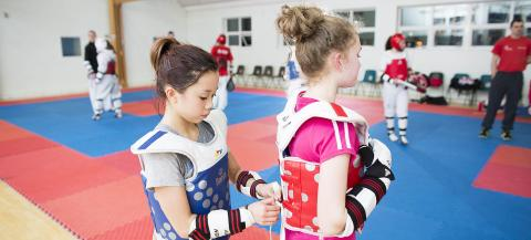 Girls taking part in Taekwondo
