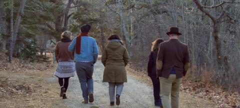 group walking through woods