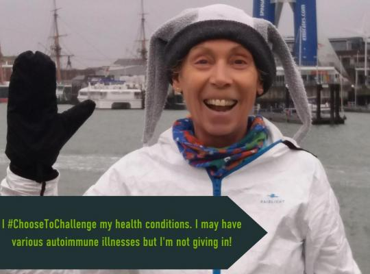 """female raising her hand with caption """"I Choose to Challenge my health condition. I may have various autoimmune illnesses but i am not giving in"""""""