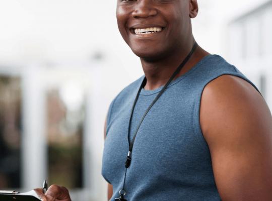 man holding a clipboard