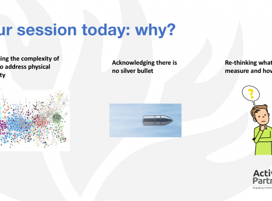 copy of a powerpont slide showing text 'Embracing the complexity of trying to address physical inactivity'