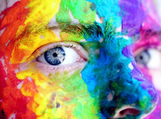rainbow coloured face