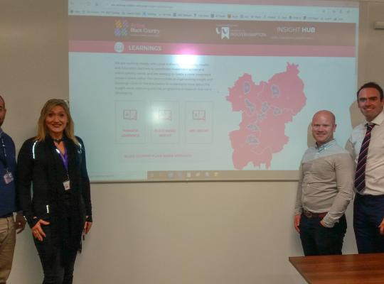 Active Black Country and University of Wolverhampton standing by powerpoint presentation of hub