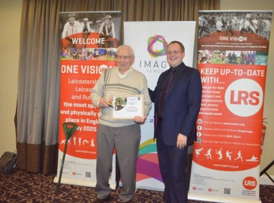 Frank Booth, oldest athlete award winner pictured with an Imago Venues representativeCelebrating Leicester-Shire & Rutland's Active Older Generation
