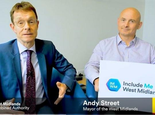 West Midlands Mayor Andy Street launches Include Me West Midlands with Mark Fosbrook, Activity Alliance