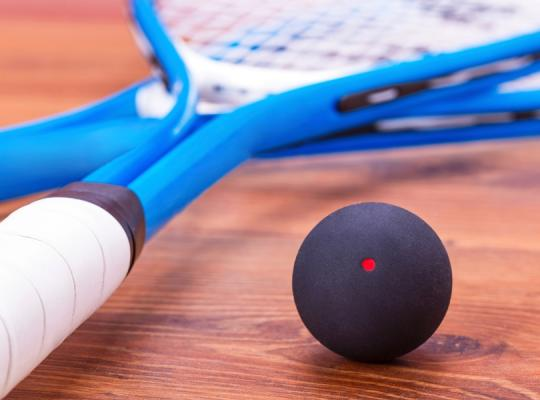 image of squash racket and ball