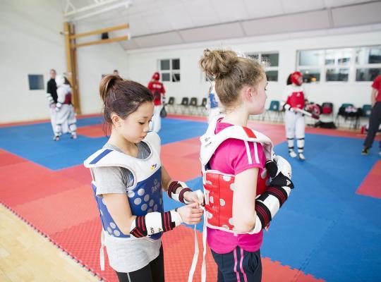 Girls taking part in Taekwondo